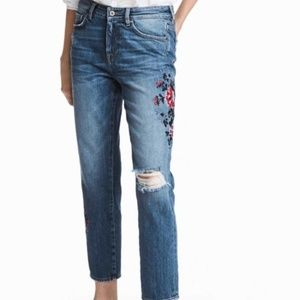 NWT H&M Cropped Embroidered  Jeans